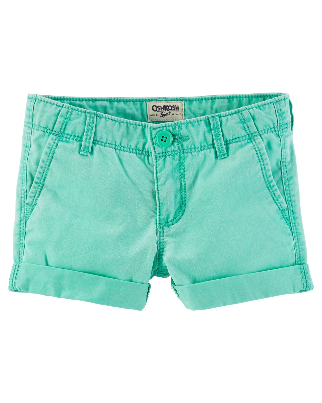 Bright Pink OshKosh BGosh Little Girls Twill Roll-Cuff Shorts