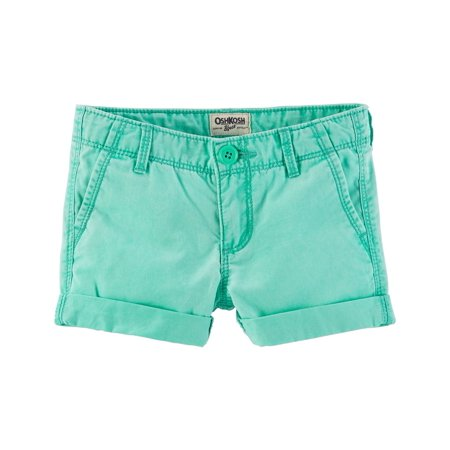 OshKosh B'gosh Little Girls' Roll-Cuff Neon Twill Shorts, 6X Kids