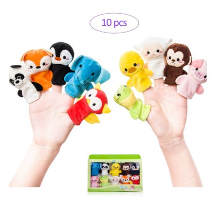 JenniferBaby Story Time Finger Puppets Set Cloth Velvet Puppets Soft Plush Animal Finger Puppets Story Telling Role Play,No Beads Safe for Babies (10pcs) Gift Box