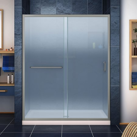 - DreamLine Infinity-Z 34 in. D x 60 in. W x 74 3/4 in. H Frosted Sliding Shower Door in Brushed Nickel, Center Drain Biscuit Base