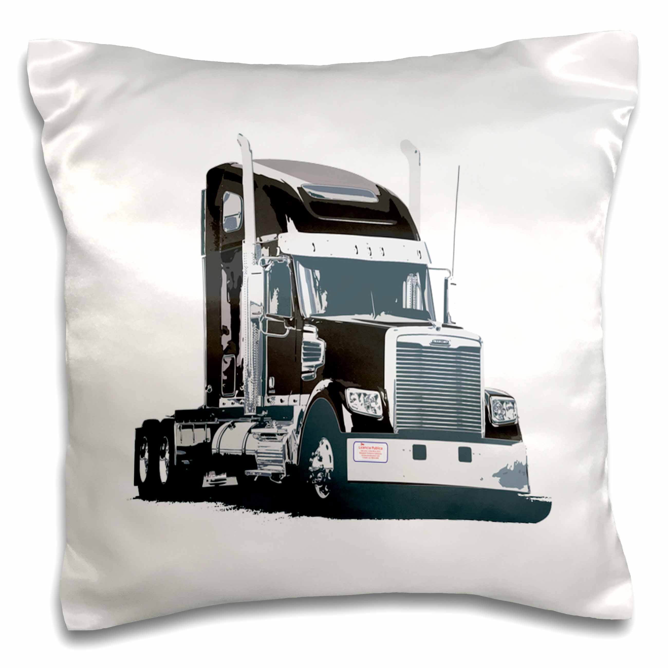 3dRose Print of Semi Rig In Black And Silver, Pillow Case, 16 by 16-inch