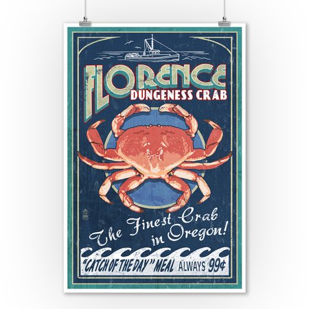 Florence, Oregon - Dungeness Crab Vintage Sign - Lantern Press Poster (9x12 Art Print, Wall Decor Travel Poster) ()