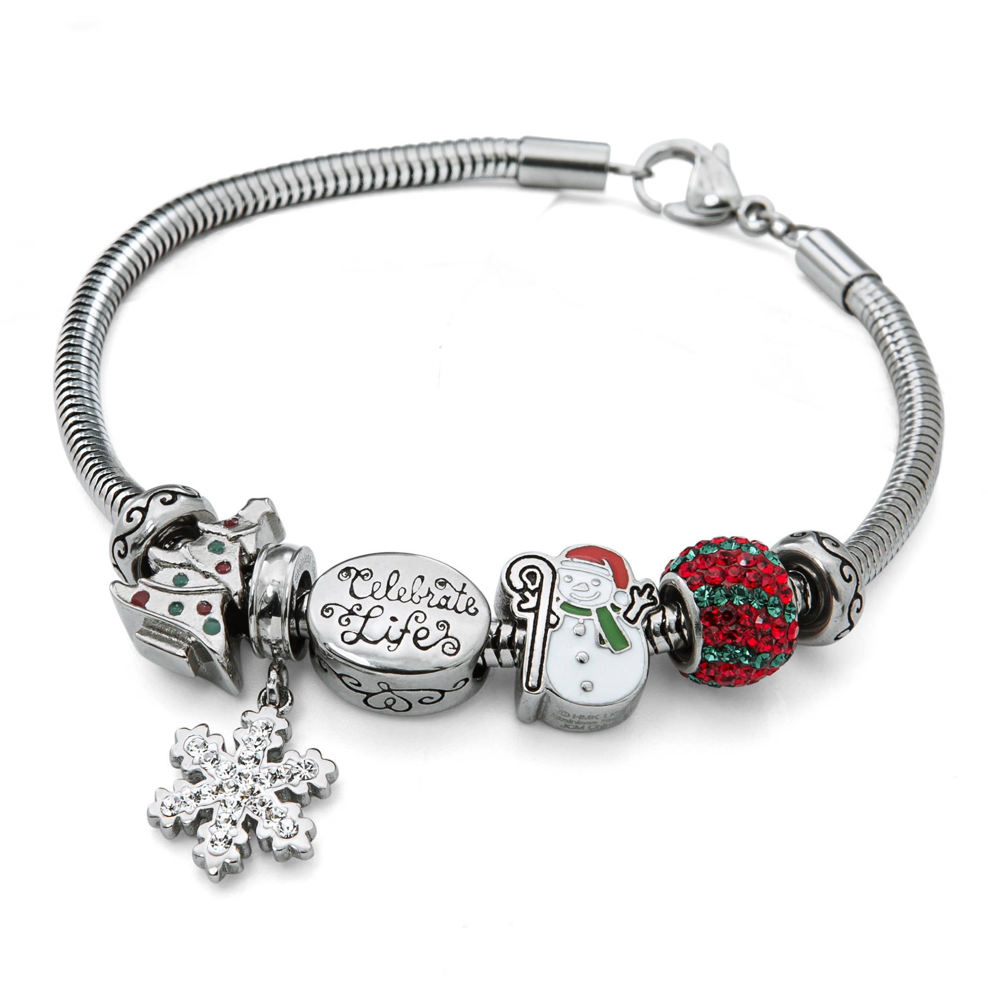 Connections From Hallmark Stainless Steel Christmas Bead Bundle Bracelet