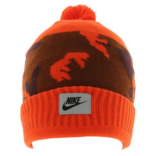 Nike Mens Nike Camo Pom Beanie Hat Orange One Size