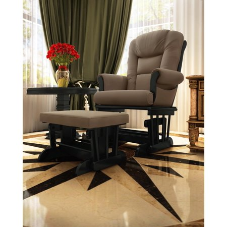 Naomi Home Deluxe Multiposition Sleigh Glider and Ottoman Set-Cushion Color:Mocha,Finish:Black ()