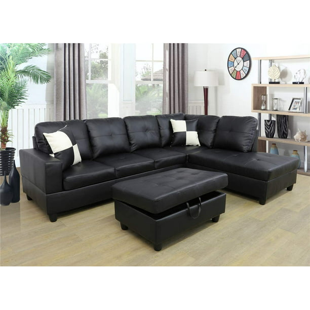 ponliving faux leather 3 piece sectional sofa couch set l