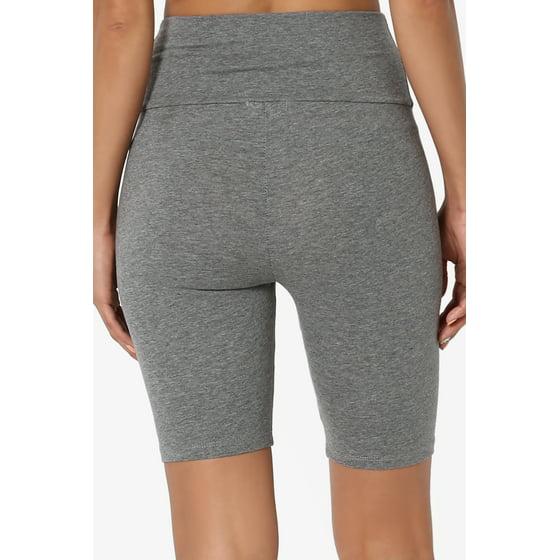 2ee79af91445a2 TheMogan - TheMogan Women's Mid Thigh Cotton Span High Waist Short Leggings  Heather Grey S - Walmart.com