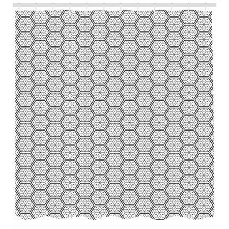 Geometric Shower Curtain Modern Geometrical Hexagonal Image Stripes And Leaves Like Details Print Fabric