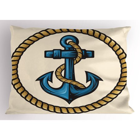 Anchor Pillow Sham Sailor Design with Circular Rope and Anchor Antique Maritime Nautical, Decorative Standard Queen Size Printed Pillowcase, 30 X 20 Inches, Pale Coffee Blue Cream, by