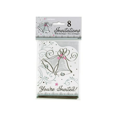 Wedding Style Invitations, 8-Count Share all the details about your upcoming nuptials or big celebration with these darling Wedding Style Invitations. These classic cards feature a pair of wedding bells ringing against a background of gray and pink floral details. Offered in an 8-count pack, these bridal shower invitations come with matching envelopes for convenient mailing. Write the time, date, and location inside and send to guests to announce your bridal shower, engagement party, anniversary celebration or wedding. Combine these Wedding Style Invitations with other Wedding Style party supplies and decorations (available separately) to create a romantic celebration. They are an excellent way to set the right atmosphere and make the right first impression on your guests for your special occasion.