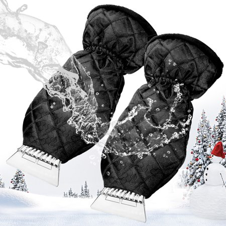 MATCC 2 Pack Ice Scraper Mitt Windshield Snow Scrapers with Waterproof Snow Remover Glove Lined of Thick Fleece Black ()