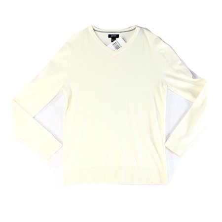 Alfani NEW White Ivory Mens Size Large L Pull-Over Knit V-Neck Sweater Ivory V-neck Sweater