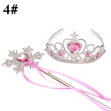 Justdolife Girl's Tiara Rhinestone Decor Dress up Tiara Princess Crown with Princess Wand Halloween Cosplay Costumes Birthday Christmas Gifts for Kids](Real Princess Tiaras)