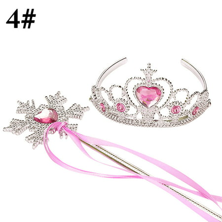 Justdolife Girl's Tiara Rhinestone Decor Dress up Tiara Princess Crown with Princess Wand Halloween Cosplay Costumes Birthday Christmas Gifts for Kids