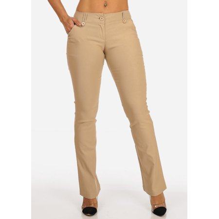 Womens Juniors Office Business Work Wear Careerwear Mid Rise Solid Taupe Dress Pants 10025R (Harem Mid Rise)