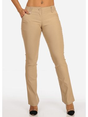 Womens Juniors Office Business Work Wear Careerwear Mid Rise Solid Taupe Dress Pants 10025R