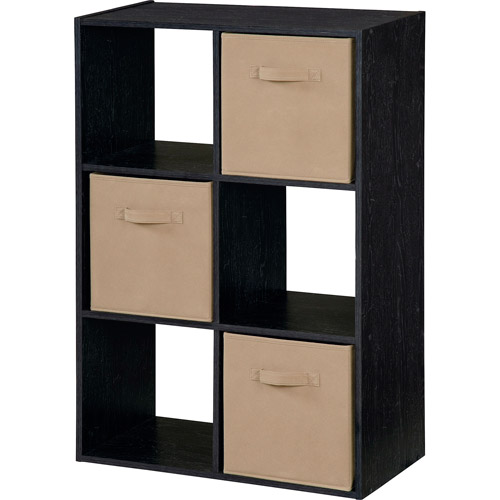 Beautiful Storage Cubby Bookshelf With 3 Fabric Bins