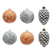 Holiday Time Faux Cement Christmas Ornaments, Set of 6