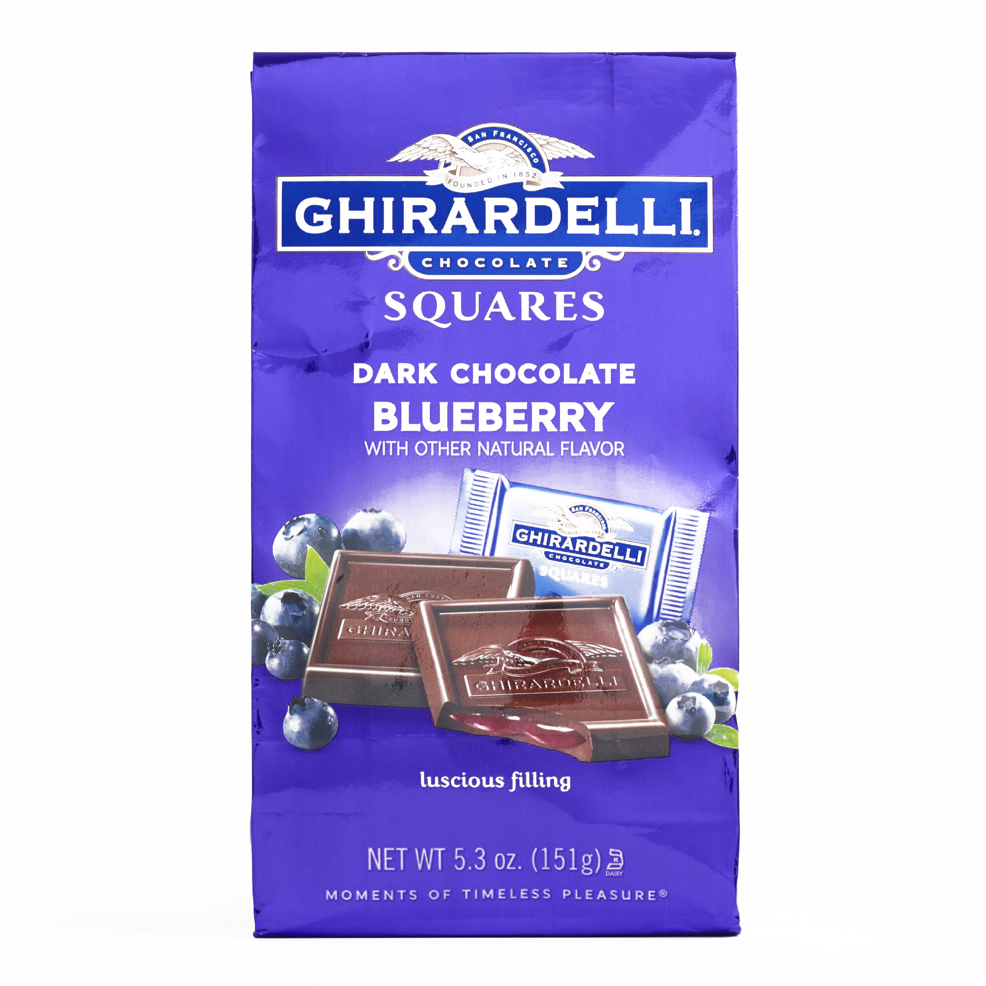 Dark Chocolate Blueberry Squares Bag 	5.3 oz each (3 Items Per Order, not per case)