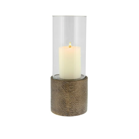 - Decmode Contemporary 13 Inch Textured Stoneware And Glass Cylindrical Candle Holder, Brown