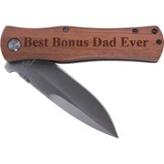 Best Bonus Dad Ever Pocket Knife with Clip  , (Wood Handle)