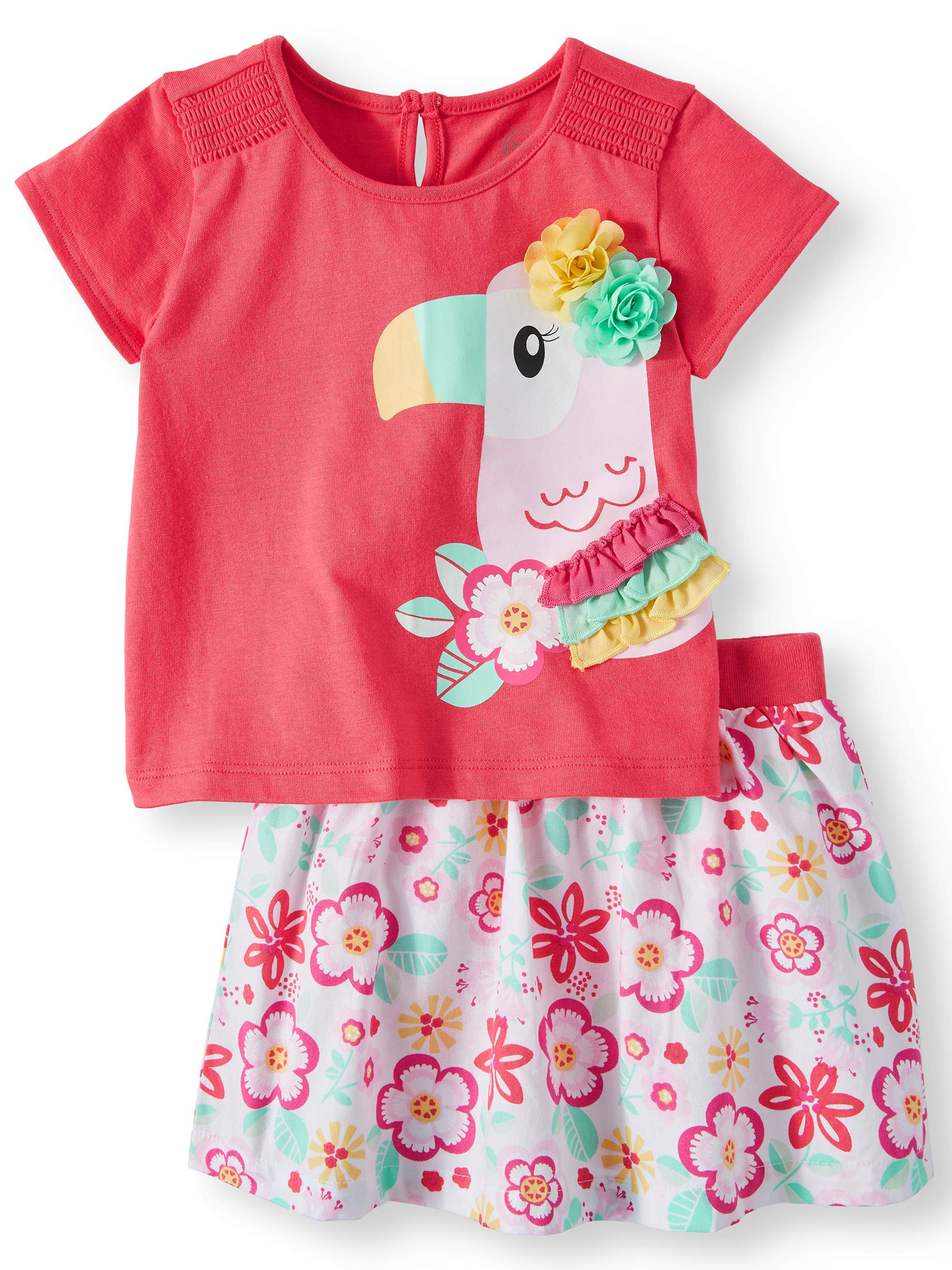 3-D Graphic Toucan T-Shirt & Skirt, 2pc Outfit Set (Baby Girls)