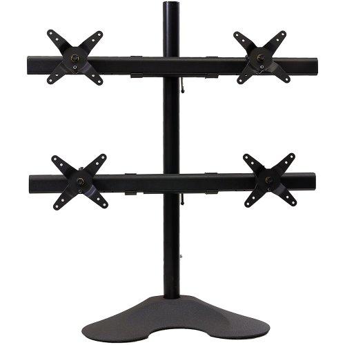 "Ergotech Quad Desk Stand 1x3 - 28"" Pole - Black - Lcd Monitor - Black - Desk Mountable (100-d28-b13)"
