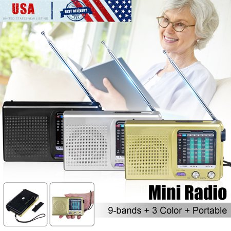 Mini Portable Radio 9 Bands Stereo Player FM/MW/SW 1-7 Broadcast Band Receiver Radio Speaker Pocket Size Ideal For Old ,Black/Yellow/Silver (Old School Receiver Stereo)