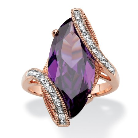 Marquise-Cut Amethyst Purple Cubic Zirconia Bypass Cocktail Ring 8.06 TCW 18k Rose Gold-Plated](Purple On Mood Ring)
