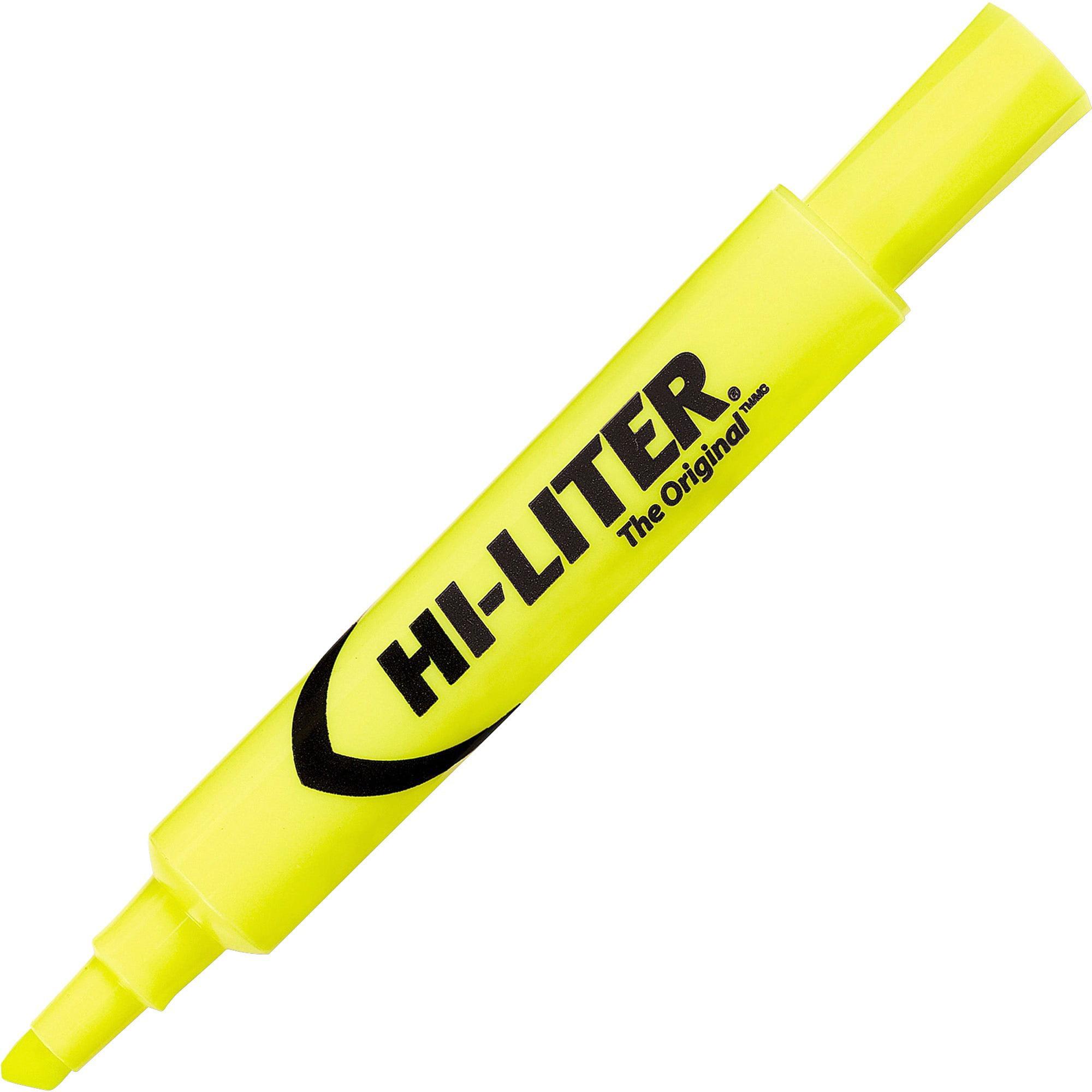 Avery HI-LITER Desk-Style Highlighter, Chisel Tip, Yellow Ink, Dozen