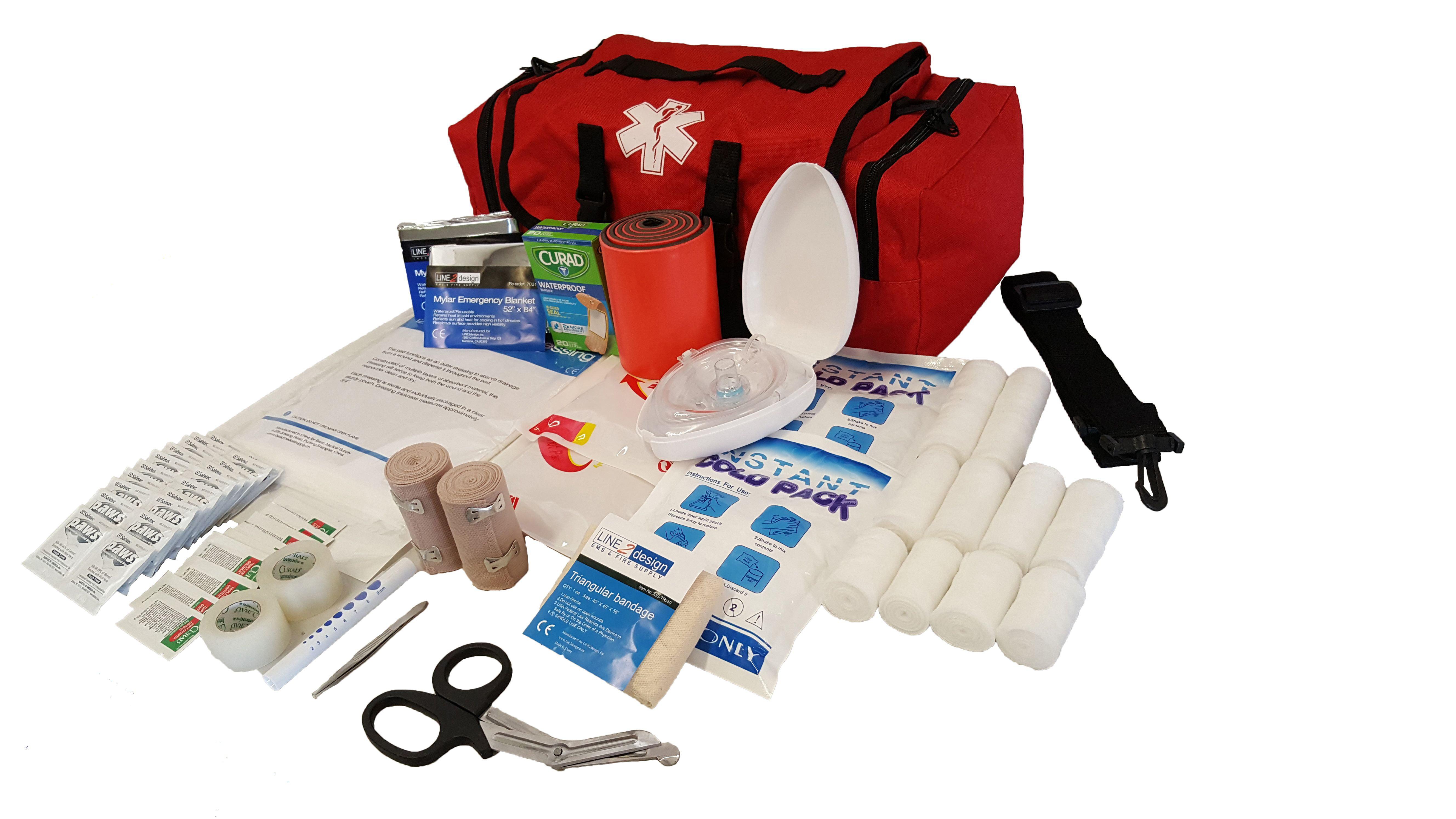 LINE2design EMS, Emergency Fire Responder Rescue Trauma First Aid Kit Bag, Lifeguard EMT Paramedic Red by LINE2design