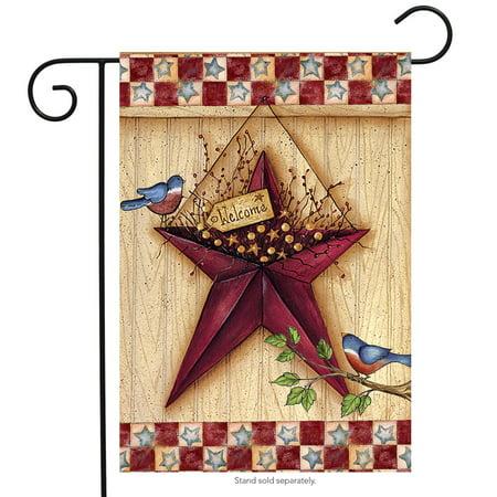 "patriotic barn star garden flag primitive 12.5"" x 18"" briarwood lane"
