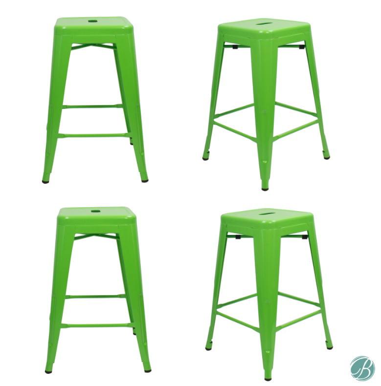 "set of 4 metal bar stool 24"" milani lawn green stackable"