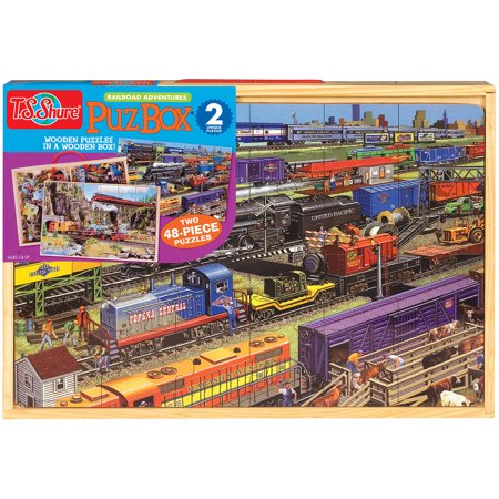 T.S. Shure Trains Jumbo Wooden Puzzles in a Wooden Box, 2 Puzzles - Train Puzzles
