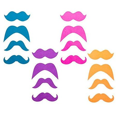 Neon Glitter Mustache Stickers (16 Pack) 4 Colors for $<!---->