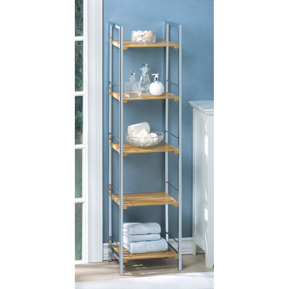 5 Tier Shelf, Wooden Bamboo Metal Display Shelf Bookcase For ...