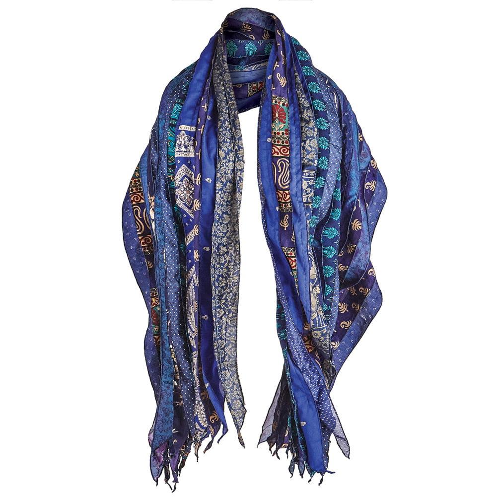 "Women's Recycled Indian Saris Fashion Scarf - 27"" X 78"""