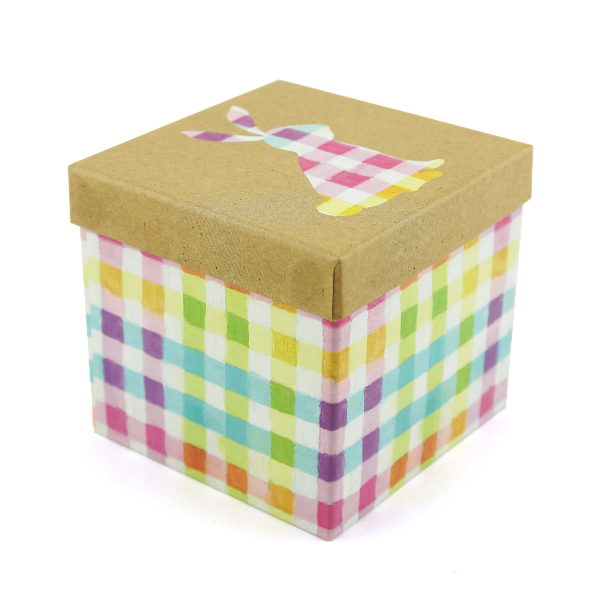 Square Paper Gift Box Gingham Bunny