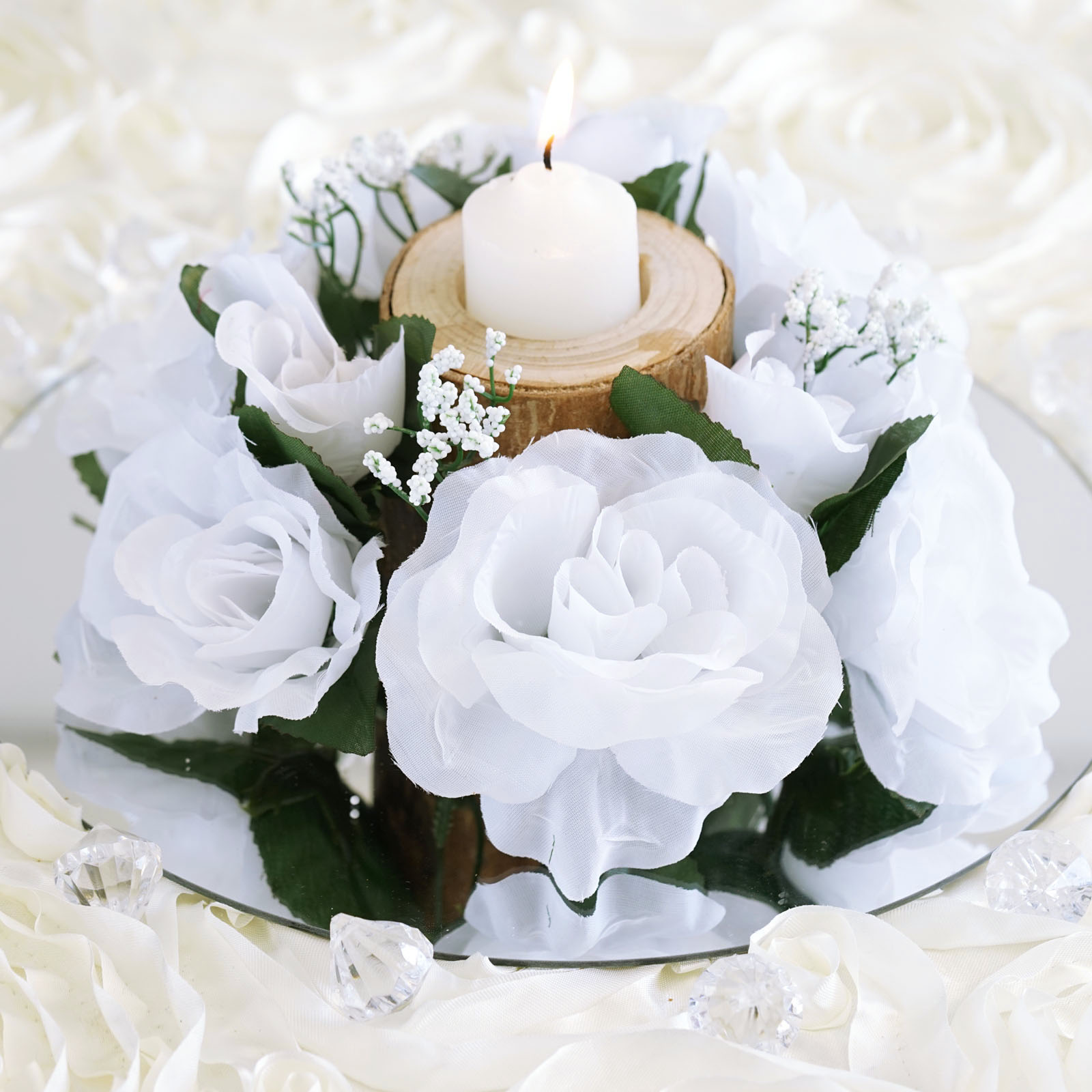 BalsaCircle 8 Silk Roses Flowers Candle Rings - DIY Home Wedding ...