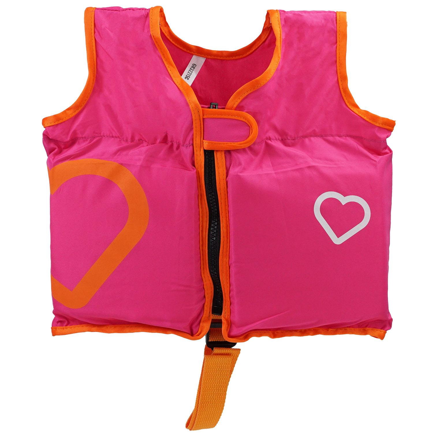 "12.5"" Adjustable Pink Swim Vest with Heart Design for Swimming Pools - Children Ages 2-4"