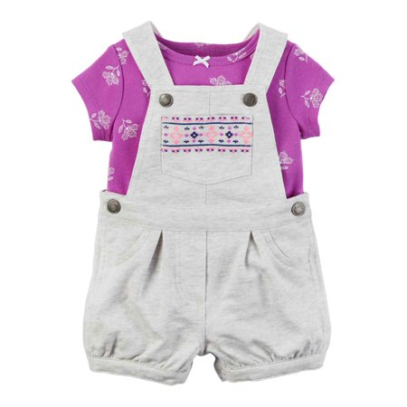 Carters Infant Girls Gray & Purple Baby Outfit Shortall Overalls & Tee Set