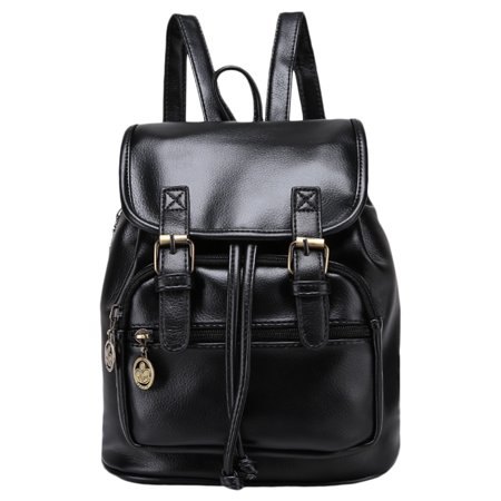 Drawstring Hobo Bag - Backpack, Coofit Vintage Preppy Drawstring Flap Cover Faux Leather Small Backpack Purse for Ladies Women Girls(Black)