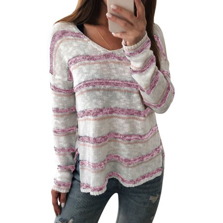 LMart Women Winter V Neck Multicolor Stripe Light Knitting Sweater Blouse Tee