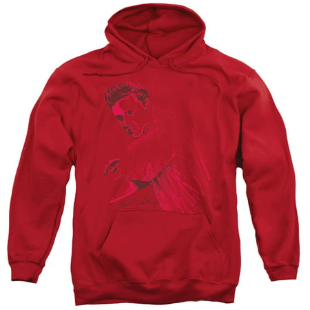 Elvis On The Range Adult Pull Over Hoodie Red Sm