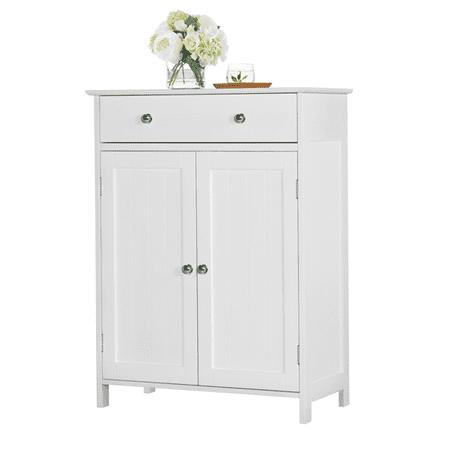 Yaheetech White Floor Cabinet/Cupboard with 2 Doors 1 Drawer Bathroom Kitchen Storage
