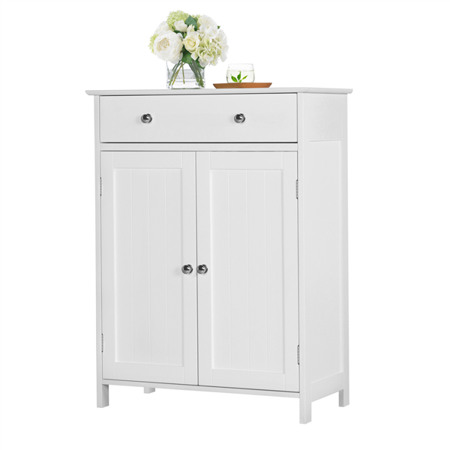 Yaheetech White Floor Cabinet/Cupboard with 2 Doors 1 ...