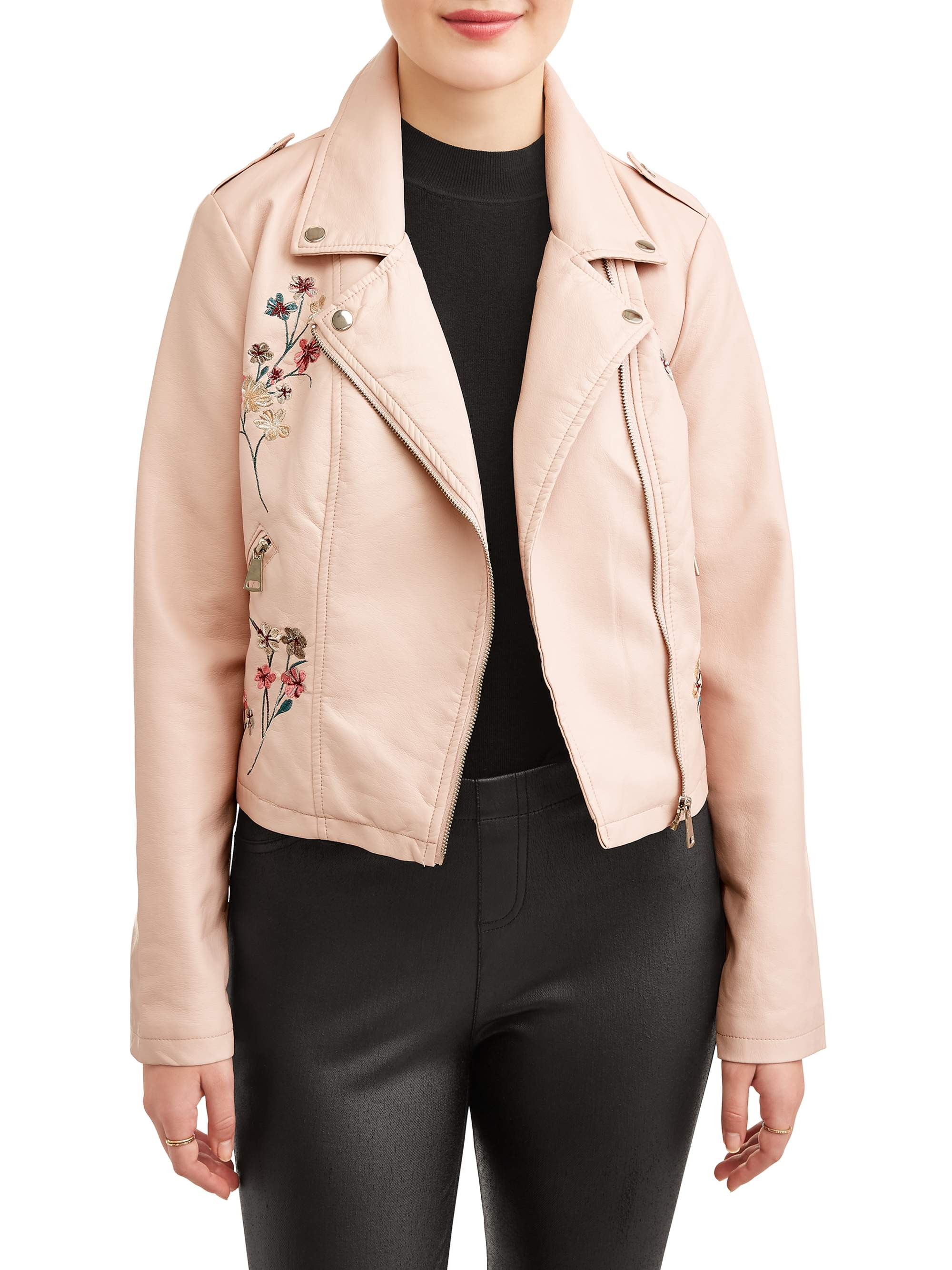 New Look Juniors' Floral Embroidered Moto Jacket