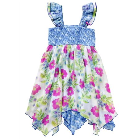 Youngland Little Girls Smocked Floral Retro Dress 4T