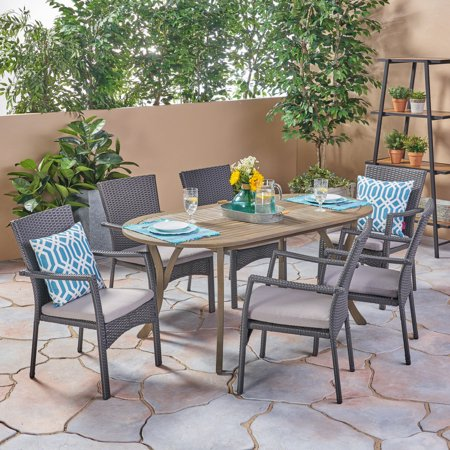 Image of Lyndell Outdoor 7 Piece Acacia Wood Dining Set with Wicker Chairs and Cushions, Gray, Gray, Gray