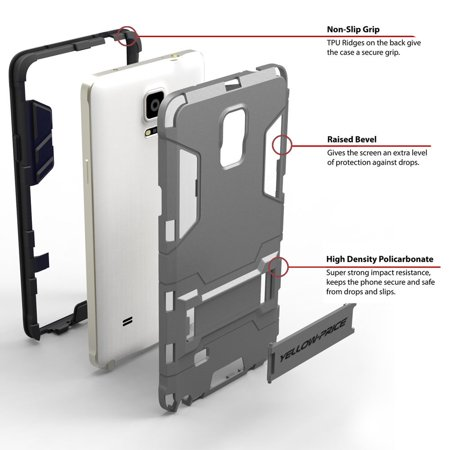LIVEDITOR Galaxy Note 4 Armor Case TEMPERED GLASS [Slim Edge Coverage+Built-In Kick-Stand] - image 2 de 7